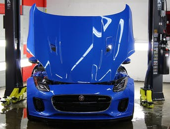 Jaguar F-type is protected with full coverage nose PPF