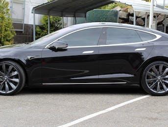 Full body wrap on Tesla Model S using Suntek Ultra clear paint protection