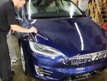 Tesla model X receiving STEK Dynoshield